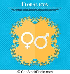 male and female. Floral flat design on a blue abstract background with place for your text. Vector
