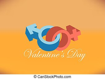Male and Female Gender Symbol Design for Valentines Day