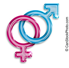 male and female gender symbols on white background