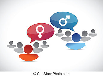 male and female groups. illustration design