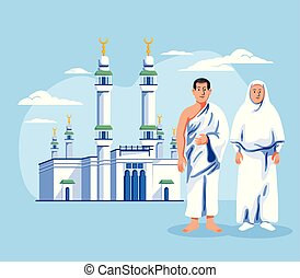Male And Female Hajj Pilgrim In Front Of Great Mosque