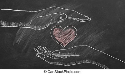 Male and female hands with heart shape. Concept of Love, Life, Care, Compassion, Mercy, Philanthropy, Health. I Love You. Happy Valentine's day. World heart day. Chalk drawn illustration.