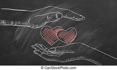 Male and female hands with two hearts. Concept of Love, Life, Care, Compassion, Mercy, Philanthropy, Health. I Love You. Happy Valentine's day. World heart day. Chalk drawn illustration.