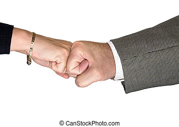 Male and female handshake