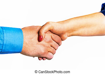 Male and female handshake isolated