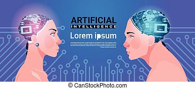 Male And Female Heads With Modern Cyborg Brain On Circuit Background Artificial Intelligence Concept