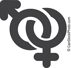 Male and female icon in black on a white background. Vector illustration