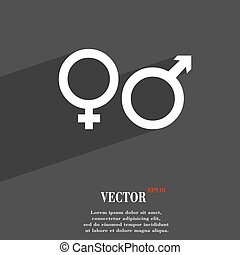male and female icon symbol Flat modern web design with long shadow and space for your text. Vector