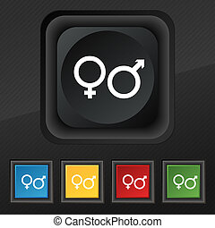 male and female icon symbol. Set of five colorful, stylish buttons on black texture for your design.