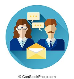 Male And Female Icon With Chat Bubble Envelope Social Mail Network Communication