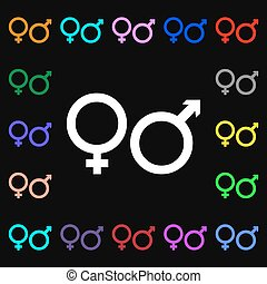 male and female iconi sign. Lots of colorful symbols for your design. Vector