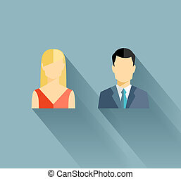Male and female icons - Vector male and female user icons in...