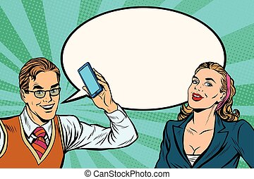 Male and female mobile phone dialogue pop art retro vector....