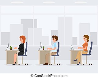 Male and female office workers at the desk