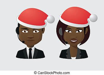 Male and female operator wearing a santa hat avatars set