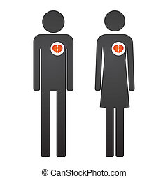 Male and female pictogram with hearts