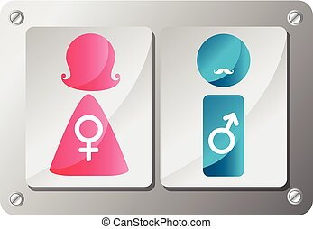 Male and Female plate - colorfull