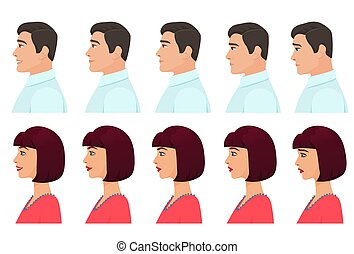 Male and Female profile avatars expressions set. Man and Woman facial profile emotions from sadness to happiness. Cartoon vector illustration.