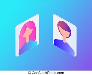 Male and female profiles set of isolated isometric icons vector. Teenagers boy and girl pictures for websites usage in web. Chatting rooms for people