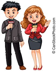Male and female reporters