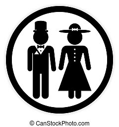 Male and female restroom symbol button. - Male and female...