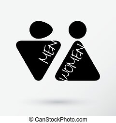 Male and Female Restroom Symbol Icon.  Vector Illustration.