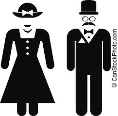 Male and female restroom symbol icons in retro style. Vector...