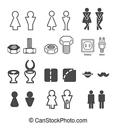 Set of male and female silhouettes - icons for restroom. Gentleman and lady sign on toilet door. Girl and boy Wc symbols. Flat style design graphic elements. Vector illustrations isolated on white