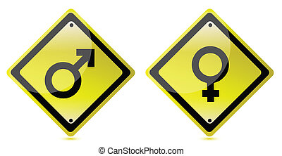 Male and female road sign