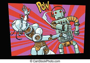 Male and female robots fighting domestic violence. Pop art retro comic book vector cartoon hand drawn illustration