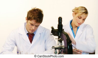 Male and female scientist looking through a microscope -...