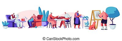 Male and Female Senior People Spending Time in Nursing Home Engaging Hobby Listening Music, Painting, Playing Chess, Knitting. Elderly Characters Having Leisure Fun. Cartoon Flat Vector Illustration