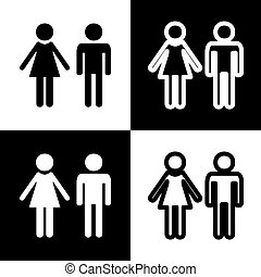Male and female sign. Vector. Black and white icons and line icon on chess board.