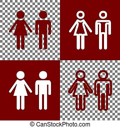 Male and female sign. Vector. Bordo and white icons and line icons on chess board with transparent background.