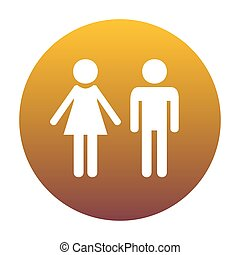 Male and female sign. White icon in circle with golden gradient