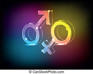 Male and female signs - The male and female signs with neon