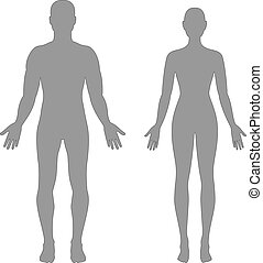 Male and female silhouettes - Vector silhouettes of man and...