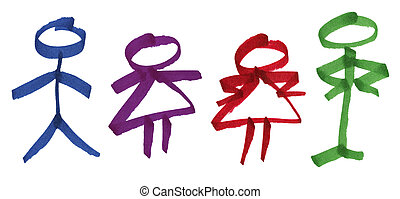 Male and female stick figures in ink marker