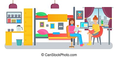 Male and female students in university college dormitory room flat vector illustration.