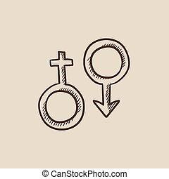 Male and female symbol sketch icon.