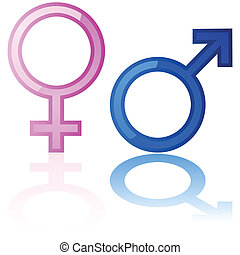 Male and female symbols - Glossy illustration of a male and...