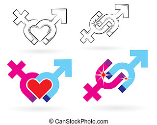 male and female symbols magnetism - Set of Male and female...