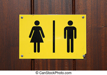 Male and female toilet sign - Yellow and black male and ...