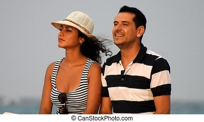Male And Female Tourists On Summer Vacation