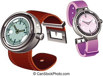 Male and Female wrist watches.eps - Two illustrations of...