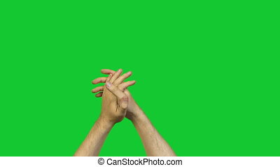 Male applause on green background - Footage of male hands on...