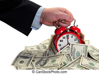 Male arm take out alarm clock from pile of money. Isolated for your. Deadline concept