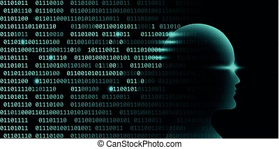 male artificial intelligence technology concept with binary code