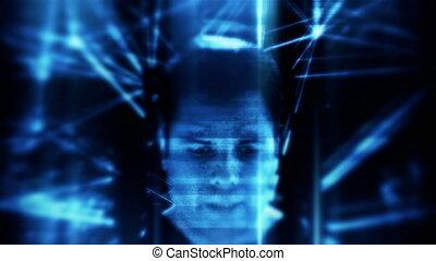 Dystopian future sci fi concept in 4K UHD. Glitching video of a male artificial intelligence ai