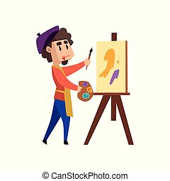 Male artist character holding palette and brush standing near easel, craft hobby or profession vector Illustration on a white background